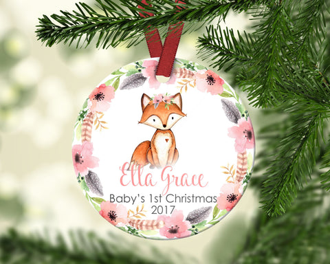 Baby's FIRST Christmas ornament. Baby Fox. Personalized