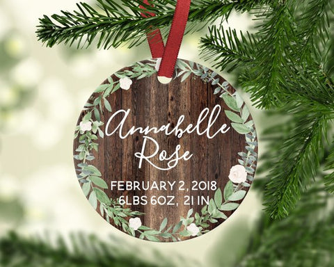 Baby's first Christmas ornament. Floral. Personalized