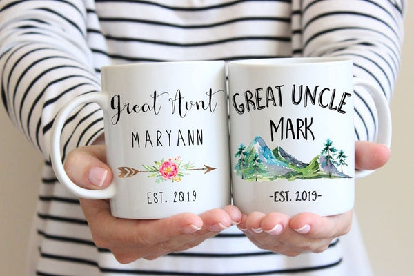 Personalized Great Aunt/Uncle Coffee Mug Set