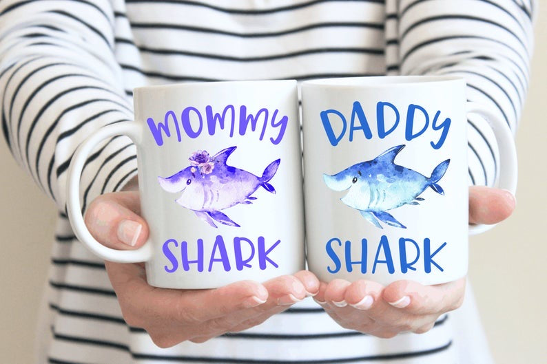 Mommy And Daddy Shark Mug Set