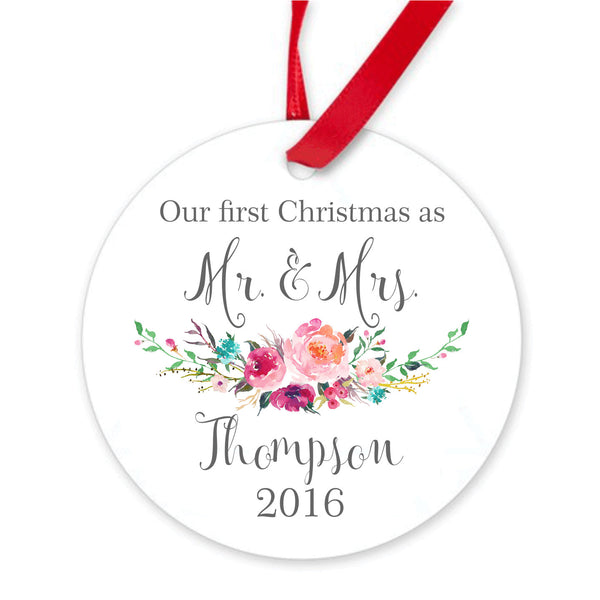 Our first Christmas Ornament. Floral. Personalized