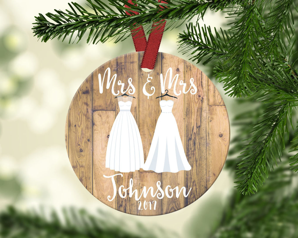 Mrs. & Mrs. Christmas Ornament. Personalized
