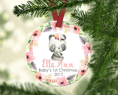 Baby's first Christmas ornament. Baby Panda. Personalized
