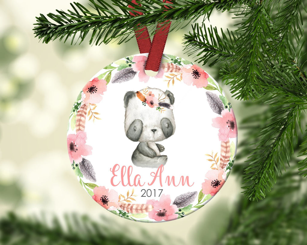 Girl's Christmas ornament. Baby Panda. Personalized
