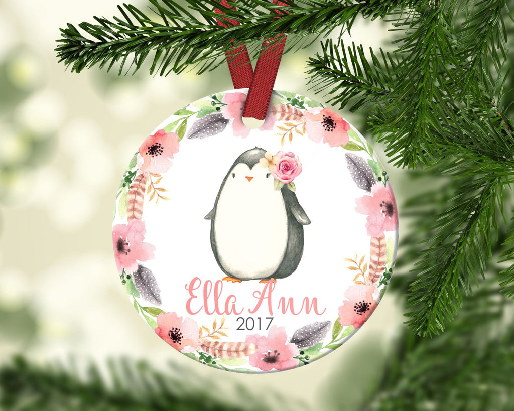 Girl's Christmas ornament. Baby Penguin. Personalized