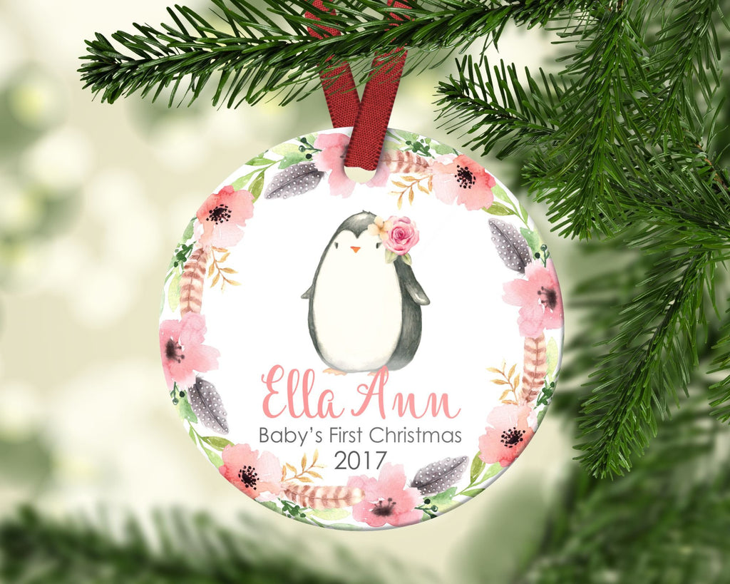 Baby's first Christmas ornament. Baby Penguin. Personalized