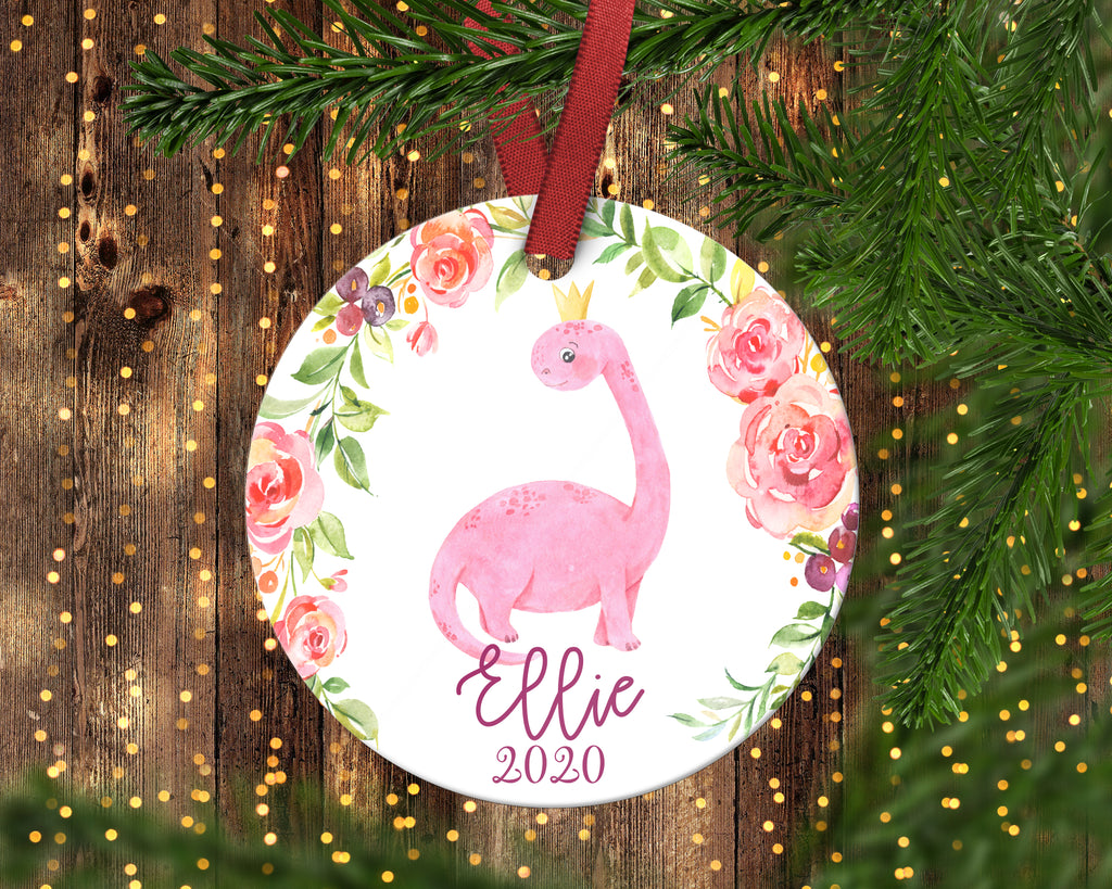Pink Dinosaur Christmas Ornament