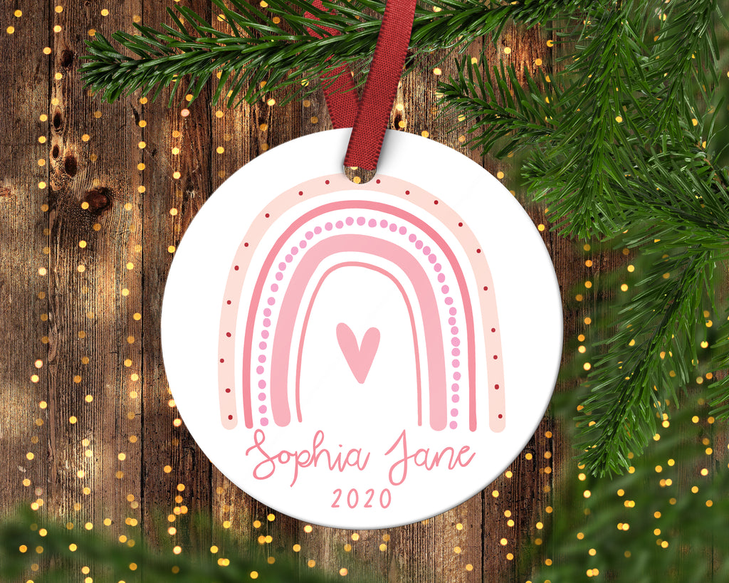 Pink Rainbow Girls Christmas Ornament