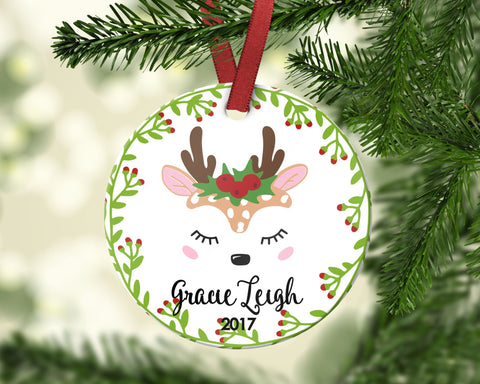Girl's Christmas ornament. Baby Reindeer. Personalized