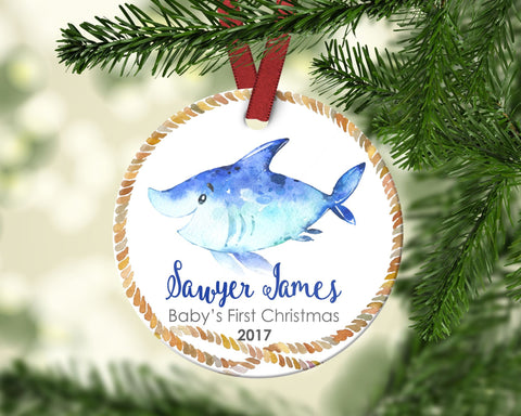 Boy's FIRST Christmas Ornament. Shark. Personalized