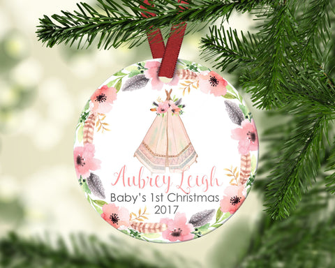 Baby's first Christmas ornament. Personalized
