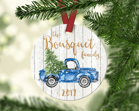 Family Christmas Ornament. Vintage Blue Truck Ornament. Personalized