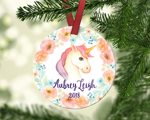 Girl's Christmas Ornament. Unicorn. Personalized
