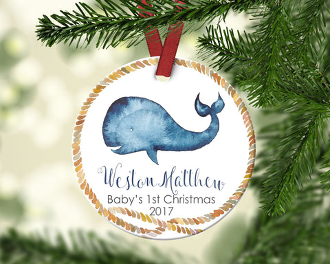 Baby's first Christmas ornament. Baby Whale. Personalized