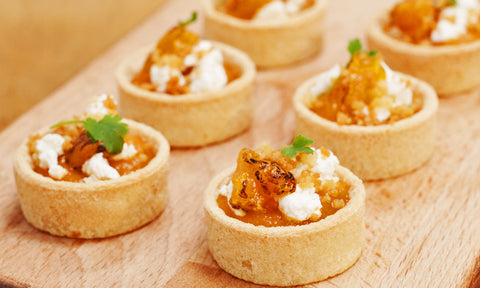 Carrot & labneh tartlet w/ toasted bulgar wheat & torched mandarin