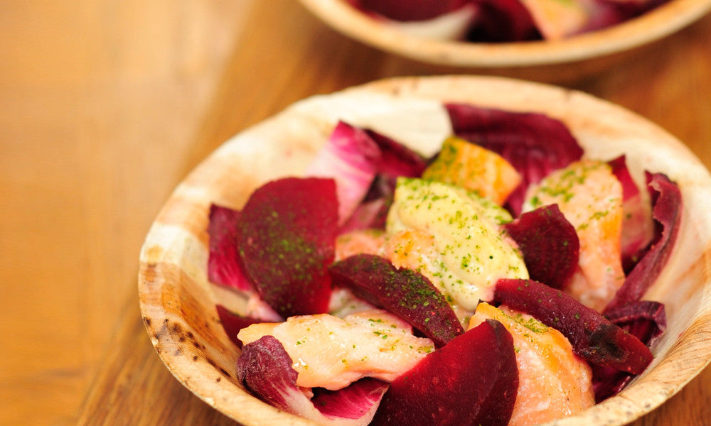 Cured salmon salad w/ maple beetroot, radicchio & horseradish (BOWL)