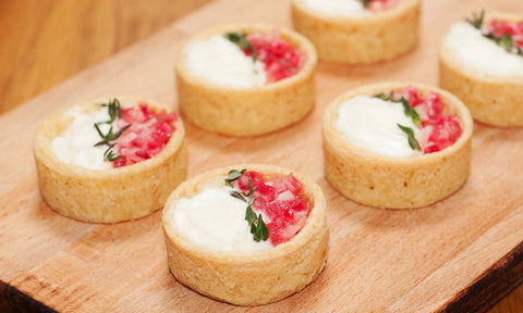 Goat's curd tartlets w/ candied rhubarb & thyme