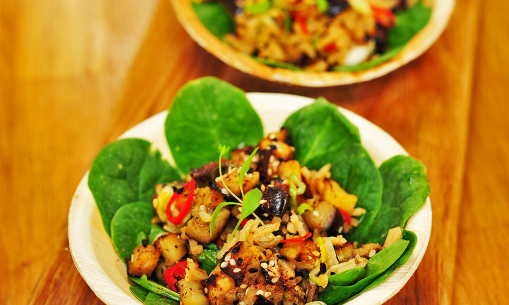 Miso roast aubergine, red chilli & wild rice salad bowl (BOWL)