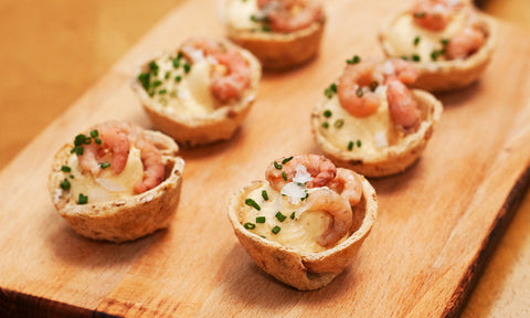 Potted shrimp w/ whipped cayenne pepper butter on granary bread cup