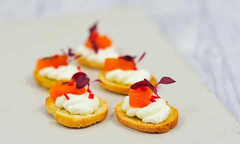 Candied pumpkin w/ whipped feta on a chilli crostini