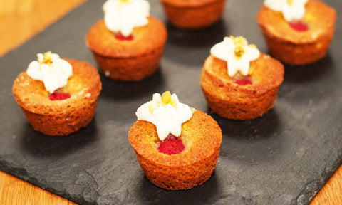 Raspberry, pistachio & rose water financiers