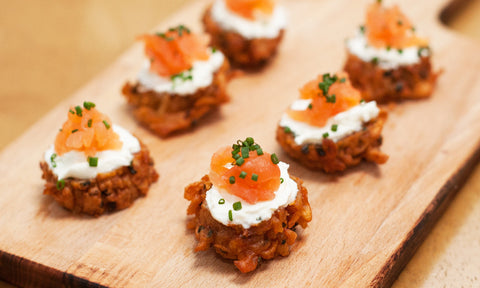 Smoked salmon on paprika & chive rosti w/ cream cheese