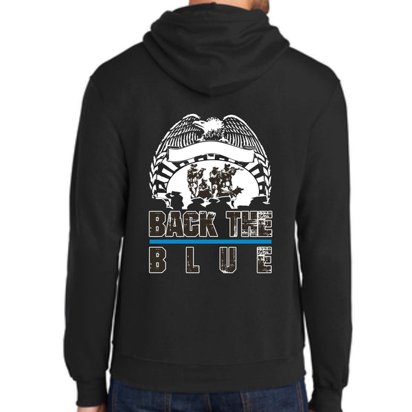 Shop With A Cop Back The Blue PC78H Port & Company® - Core Fleece Pullover Hooded Sweatshirt