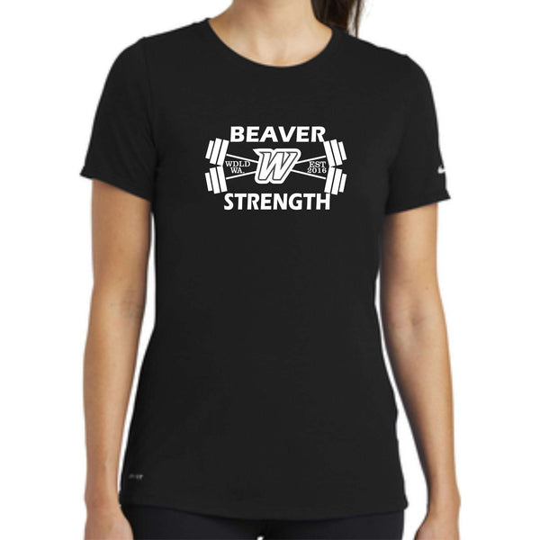 Beaver Strength Nike Ladies Dri-FIT Cotton/Poly Scoop Neck Tee