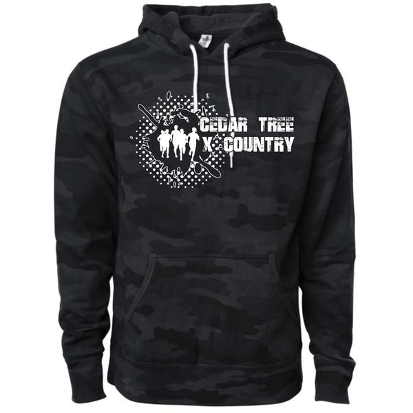 "Cedar Tree Cross Country ""Distressed"" AFX90UN  Unisex Black Camo Pullover Hooded Sweatshirt"