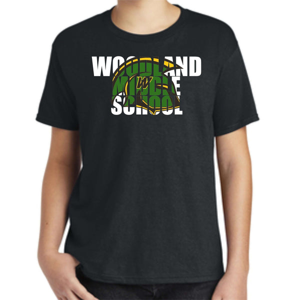 Woodland Middle School Trojans Helmet 990B Anvil ® Youth 100% Combed Ring Spun Cotton T-Shirt