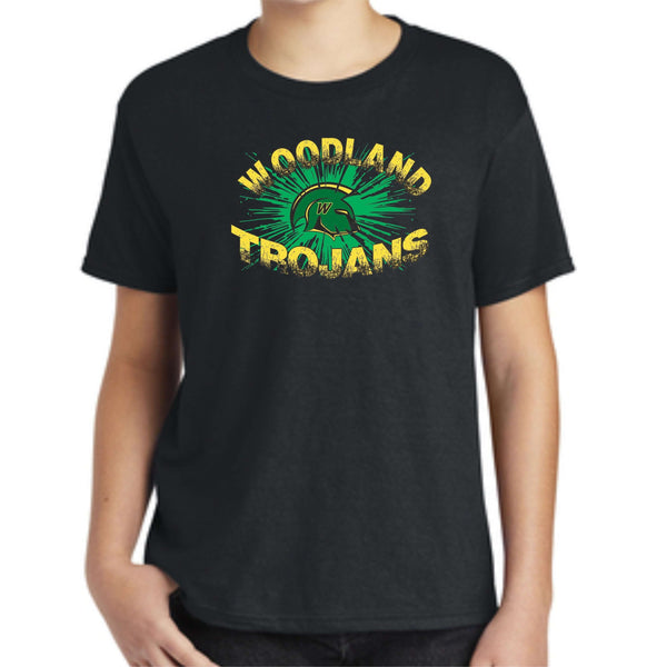 Woodland Middle School Trojan Burst 990B Anvil ® Youth 100% Combed Ring Spun Cotton T-Shirt