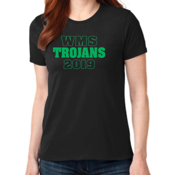 Woodland Middle School Trojans 2019 LPC55 Port & Company® Ladies Core Blend Tee
