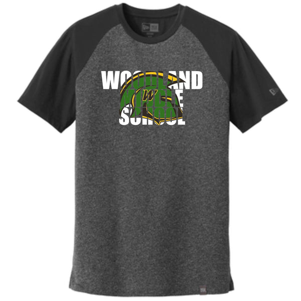 Woodland Middle School Trojans Helmet NEA107 New Era® Heritage Blend Varsity Tee