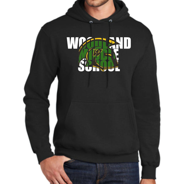 Woodland Middle School Trojans Helmet PC78H Port & Company® - Core Fleece Pullover Hooded Sweatshirt