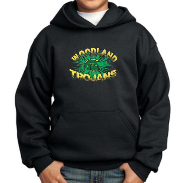 Woodland Middle School Trojan Burst PC90YH Port & Company® - Youth Core Fleece Pullover Hooded Sweatshirt