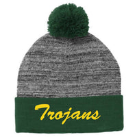 Woodland Middle School Trojans STC41 Sport-Tek ® Heather Pom Pom Beanie