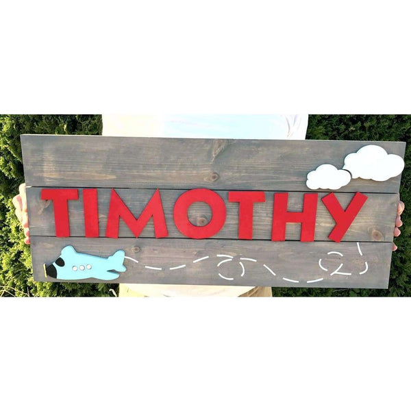 Airplane Nursery Name Sign