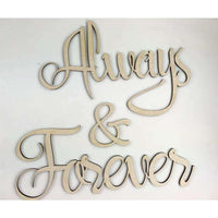 Always and Forever Wood Cutout Free Shipping