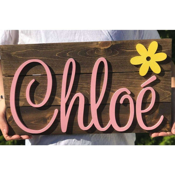 Baby Girl Nursery Name Sign with Flower