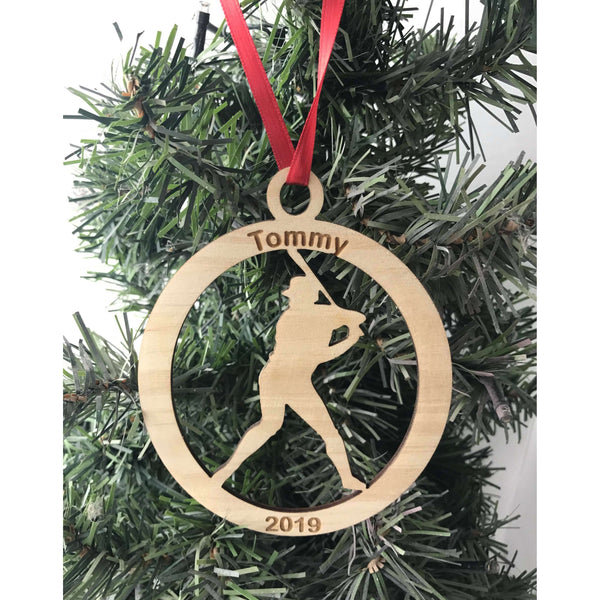 Baseball player Engraved Ornament