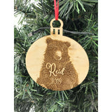 Engraved Bear Ornament Personalized with Name and year
