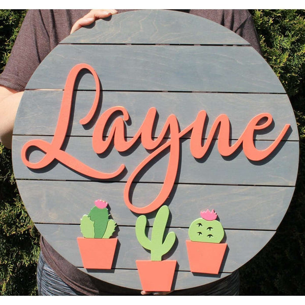 Circle Nursery Sign with Cactus