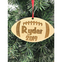 Football Engraved Ornament Personalized with Name and Year