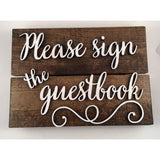 Please sign guestbook wooden sign