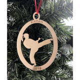 Karate Girl Engraved Ornament