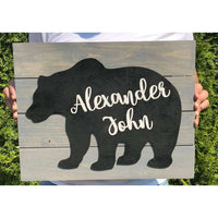 Large Bear Nursery Name sign