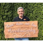 Large Custom Wood Hashtag Sign personalized with your hashtag