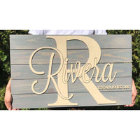 Large Wooden Family Name Sign
