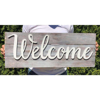 Large Wooden Welcome sign
