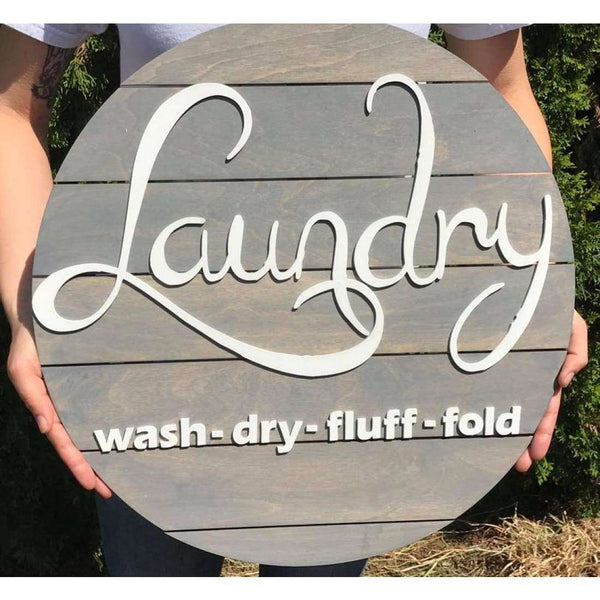 Laundry Wash Dry Fluff Laundry Sign